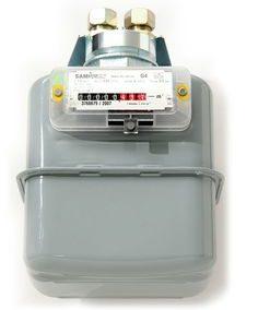 Einrohr-Gaszähler mit Wandhalterung drehbar und Anschlussverschraubungen