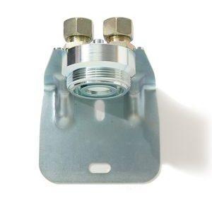 Wandhalterung für Einrohr-Gaszähler mit Anschlussverschraubungen